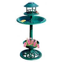 4 in 1 Plastic Garden Bird Bath with feeder and solar light