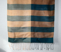 Laos Silk Striped Scarf - Blue and Gold w/ Tassels