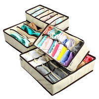 Foldable Drawer Dividers Closet Organizers Bra Underwear Storage Boxes (Set of 4)