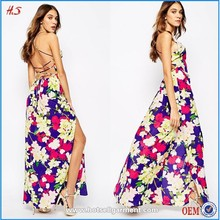 Wholesale high fashion printed womens dresses maxi design chiffon dresses