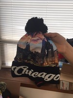 Pom Print Winter Knitted Hat,beanies with city skyline printing