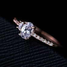 2015 fashion women's cute compact design ring / rose gold metal inlay zircon crystal ring combination