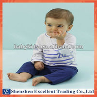 Autumn White Striped T-Shirt with Blue Pants Baby Clothes Set