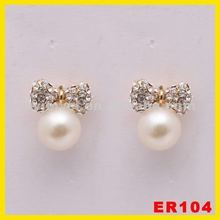 2012 new fashion hot selling alloy crystal butterfly tie earrings,pearl crystal drop earrings,pearl earrings