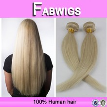 Fabwigs blonde silky straight 100 virgin brazilian human hair weft hair extensions double drawn weft hair(no shedding no tangle)