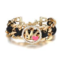 most popular style black leather bracelet for men FB037