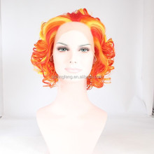 short cheap colorful party wig with highlight, city plastic wigs china factory