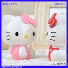 Domars New Products Cartoon Power Bank Hello Kitty External Battery 8800mAh Backup Battery
