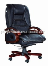 luxury leather boss chair can reclining base wooden chair AB-301