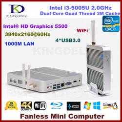 Fanless Intel i3 5005U 12v Mini PC x86 HTPC with 4gb RAM 64G SSD 1920*1080 4*USB 3.0 300M WiFi Blue-ray Metal Case