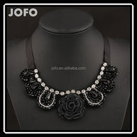 2015 Trendy Necklaces Pendants Silk Chain Collar Black Rose Flower Elegant Bling & Fashion Necklace Women Jewelry