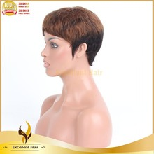 cheap high tamperature short style remy indian hair highlight color non lace machine wig