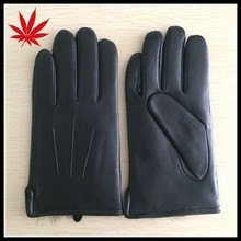 Men's leather glove simple style with warm rabbit fur lined