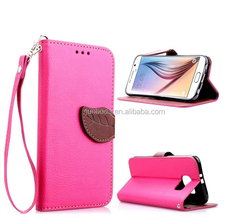Double Color Wallet Case with Strap and Stand for Samsung Galaxy Core i8260 i8262, Flip Leather Cover with Leaf Magnetic