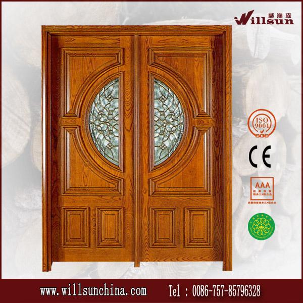 Talla de madera de doble puerta de la puerta delantera for Puertas dobles de madera