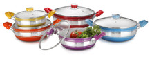 Non-stick cooking pots with glass lid
