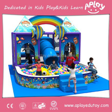 Small kids ocean theme indoor play equipment with fish design and funny bubble pool for children play AP-IP30035