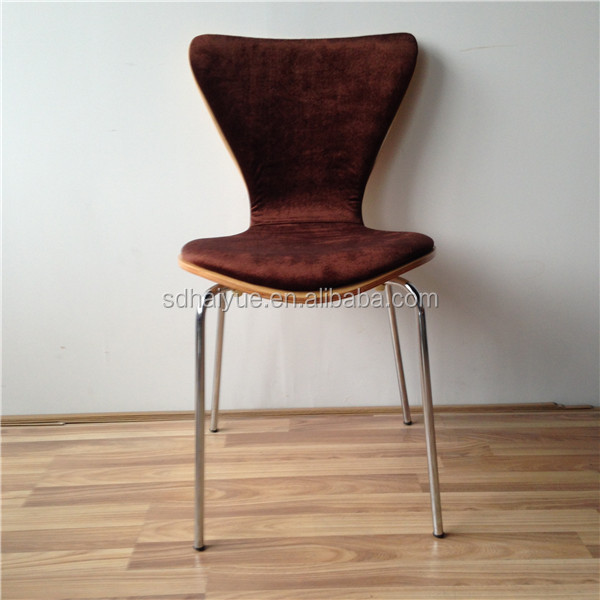 Tobago Stacking Chair Brown Chrome: The Standard Stacking Brown Fabric Upholstery Plywood