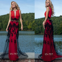 Latest Fashion 2015 Sexy Deep V neck Floor-length See-through Black/Red Lace Long Women Prom Evening Dresses WD15-757