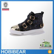 HOBIBEAR new brand bright velcro children high cut sport shoes fashion ankle skate board shoes