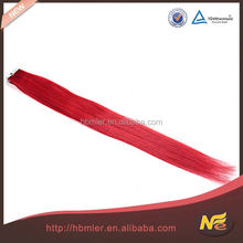 brazilian human hair skin weft red pre bonded hair pu tape hair