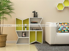 wooden cube shelf /bookcase foldable storage bin with handle for cosmetics