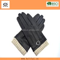 HLM14024 black knitted wrist warm men leather gloves