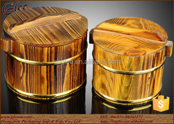 special design wooden bucket for food with stainless steel inside
