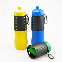 portable silicone foldable water bottle, silicone sports bottle with carabiner