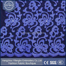 Wholesale royal blue french lace wedding dress fabric/African french net lace with pearls and stones 2015 latest designs