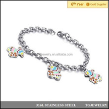 Spain stainless steel rolo neck bracelet with colorful brand lovely bear accessory (NSS-006)