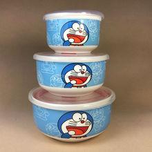 cartoon design ceramic bowl set with Silicone lid