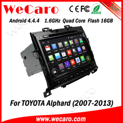 """Wecaro android 4.4.4 car gps navigation China Factory oem 9"""" for toyota alphard car dvd player mirror link 2007 - 2013"""