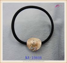 hat shape decorative metallic rubber band, elastic hair bands