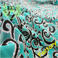Black flocking silver glitter mint green tulle mesh alibaba china fabric supplier