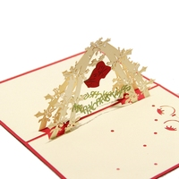 Red Christmas Bell 3D laser cut pop up paper handmade postcards custom greeting cards gifts for lover party supplies 9007