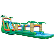 top sale inflatable double lane run n water slide, inflatable tropical wet slide