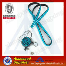 2014 promotional items Retractable rhinestone lanyard with ID badge holder