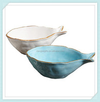 Hand painted colorful dolomite fish soup bowl