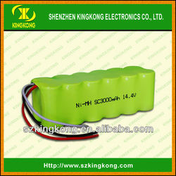 14.4v sc 3000mah nimh rechargeable battery pack,cordless drill batteries