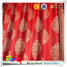 """Chinese red """"palace"""" deisng- high quality soft jacquard silk look polyester hotel lobby blackout curtain, bedspreads fabric"""