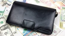 Vintage Fashion Casual Top Genuine Leather Cowhide Men Zipper Clutch Bag Day Clutches Bags Long Wallet Handbag For Male
