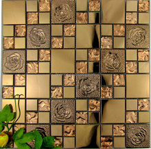 Thought good construction material for wall decoration metal mosaic glass mosaic mix