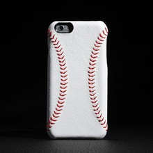 luxury leather cell phone case brands with handmade red baseball stitching