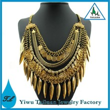 Statement Multi- Layered Coin & Feather Collar Necklace