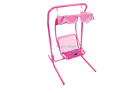 pink kids hanging indoor swing chair with canopy