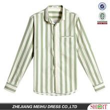 2015 Western light apple green men striped casual shirt