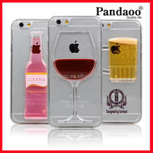 Red Wine Glass Beer Cocktail Moving 3D Liquid Phone Case for iPhone 6 Case