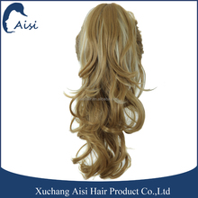 New style hair extension long wavy synthetic hair claw clip ponytail for female
