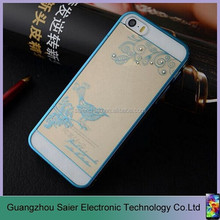 noble smart plating bird pattern stone clear phone case for iphone 6 plus